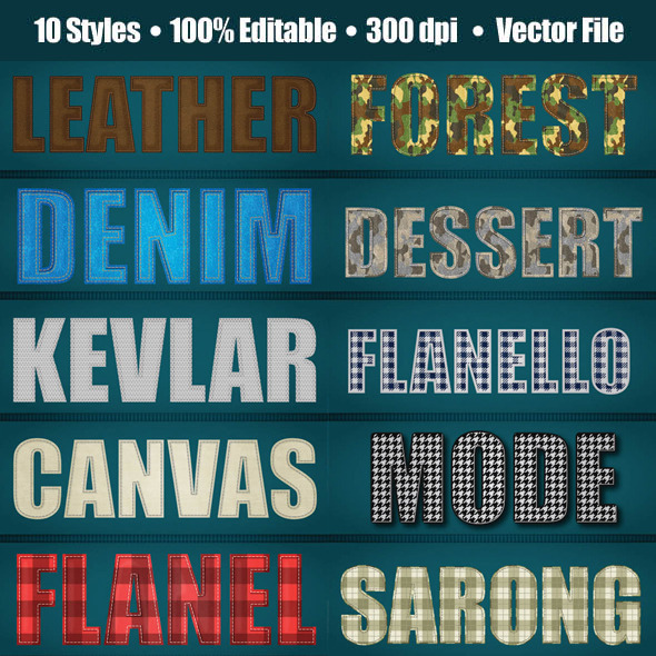 Detailed Realistic Fabric Texture Style (Cammo include) - Styles Illustrator