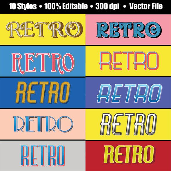 Vintage/Retro Text Effect for Illustrator - Styles Illustrator