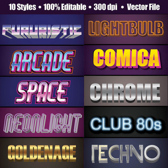 3D 80's Text GraphicStyle - Styles Illustrator
