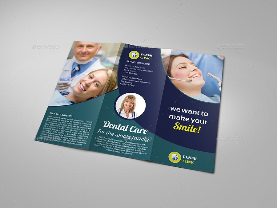 Dental Clinic Tri Fold Brochure Vol3 By Owpictures Graphicriver