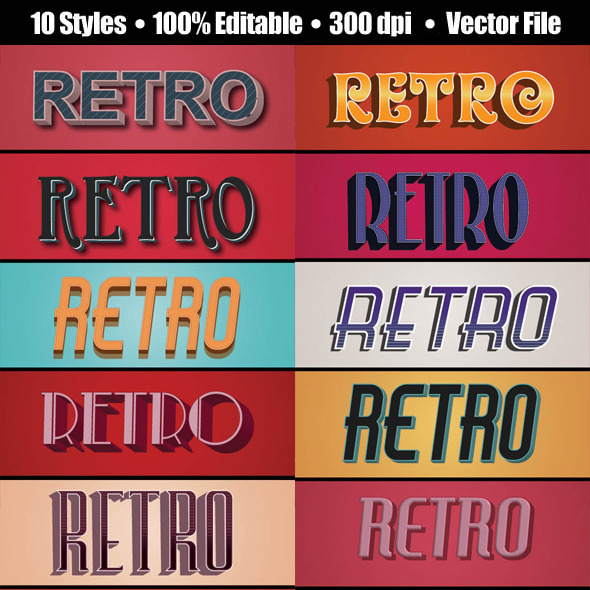 3D Vintage/Retro Text Style - Styles Illustrator