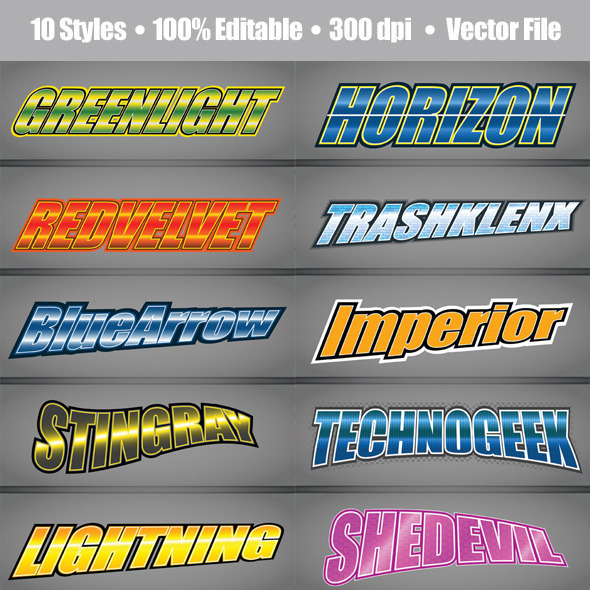 Racing Video Game Title Style - Styles Illustrator