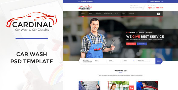 Cardinal - Car Wash & Workshop PSD Template - Business Corporate