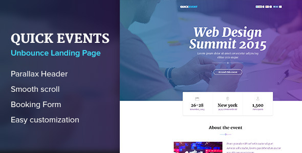 QuickEvents Responsive Unbounce Landing Page - Unbounce Landing Pages Marketing