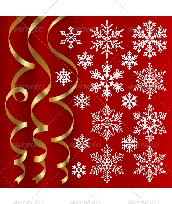 Christmas set of ribbons and snowflakes - Christmas Seasons/Holidays
