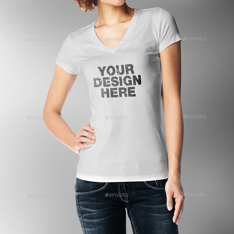 T shirt white mockup - Woman T Shirt Mock Up
