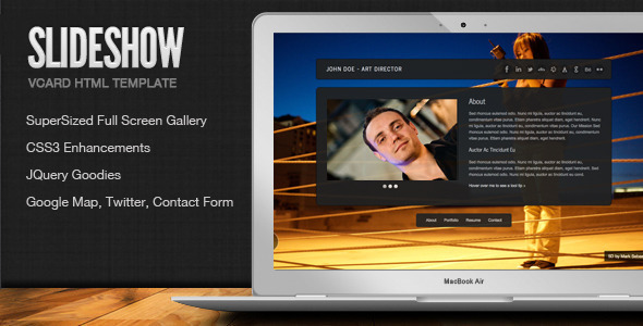 SlideShow - Stylish Online vCard Html Template  - Virtual Business Card Personal