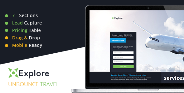Explore - Travel Unbounce Template - Unbounce Landing Pages Marketing