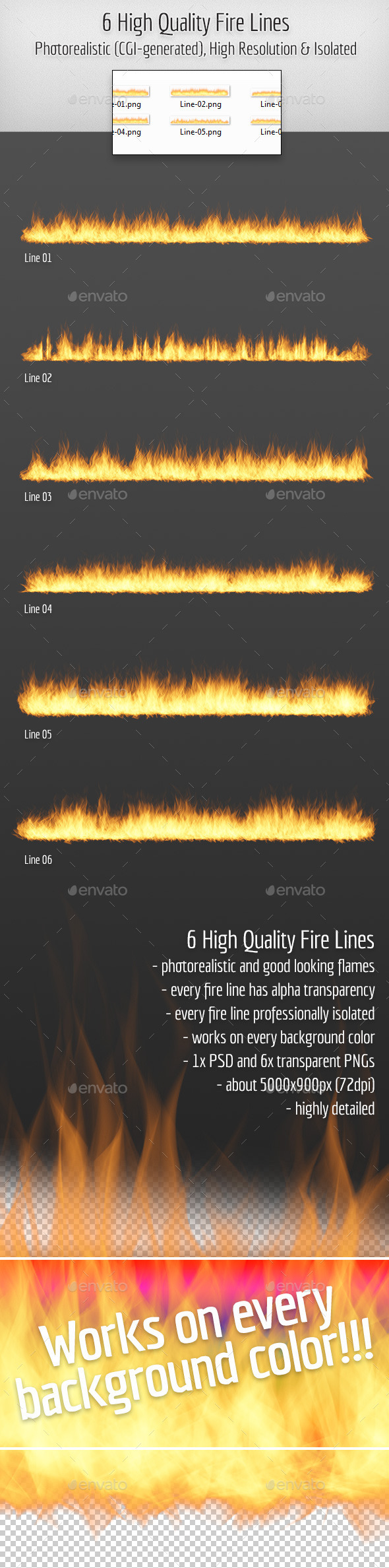 6 High Quality Hi-Res & Isolated CGI Fire Lines - Miscellaneous Graphics