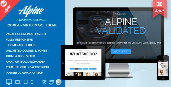 Alpine – Responsive One Page Joomla Template
