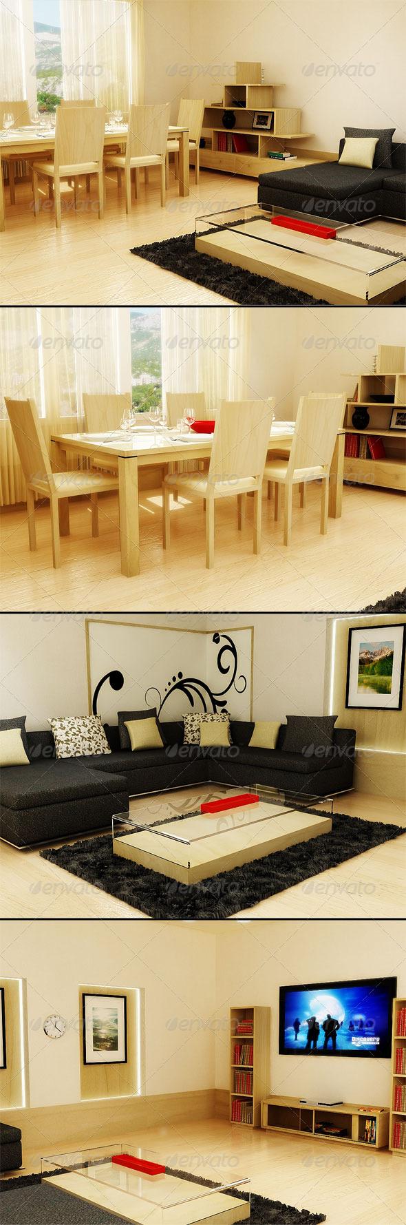 3D Living room - 3DOcean Item for Sale