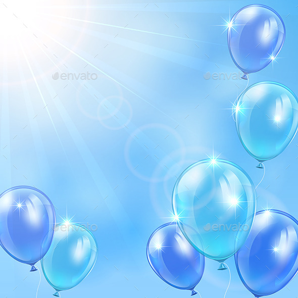 blue balloons on sky background by losw graphicriver