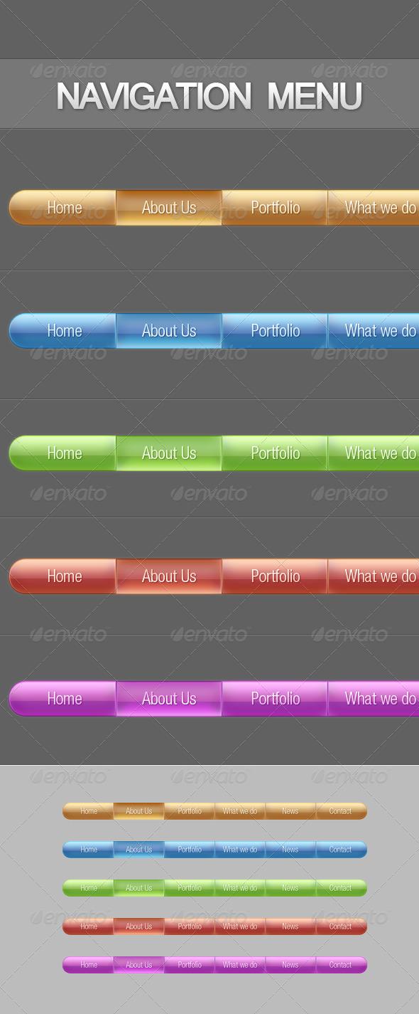 Glossy Navigation Menus - Web Elements