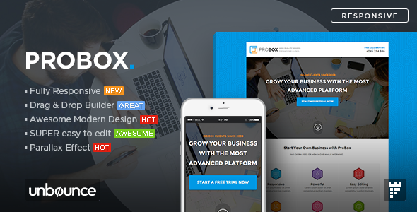 ProBox - SaaS Unbounce Landing Page Template - Unbounce Landing Pages Marketing