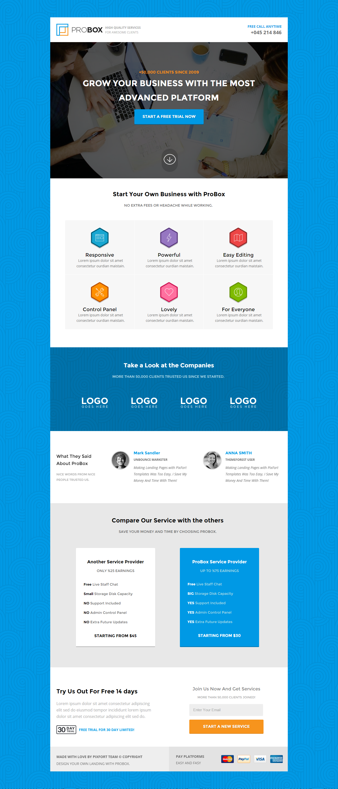 Landing Page Template | Probox Saas Unbounce Landing Page Template By Pixfort Themeforest