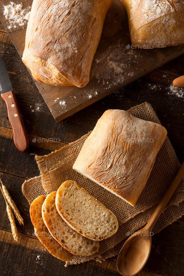 Crusty Homemade Ciabatta Bread - Stock Photo - Images