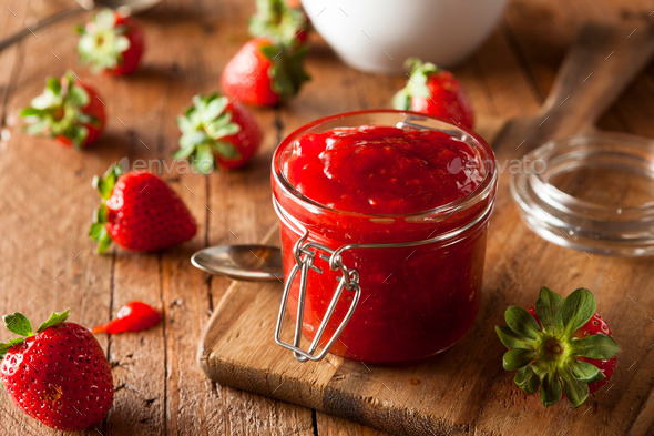 Homemade Organic Strawberry Jelly - Stock Photo - Images