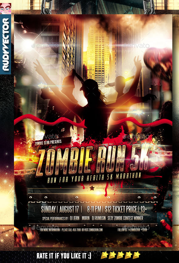 Zombie Run Marathon Event Flyer By Rudyvector | Graphicriver
