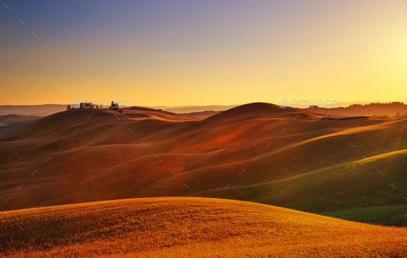 Tuscany, sunset rural landscape. Rolling hills, countryside farm - Stock Photo - Images