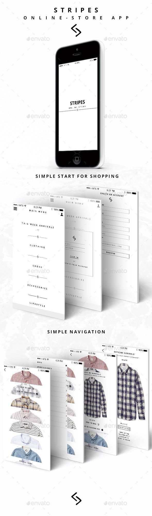 Stripes Online Store App - User Interfaces Web Elements
