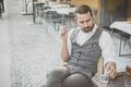 handsome big moustache hipster man using smart phone - PhotoDune Item for Sale