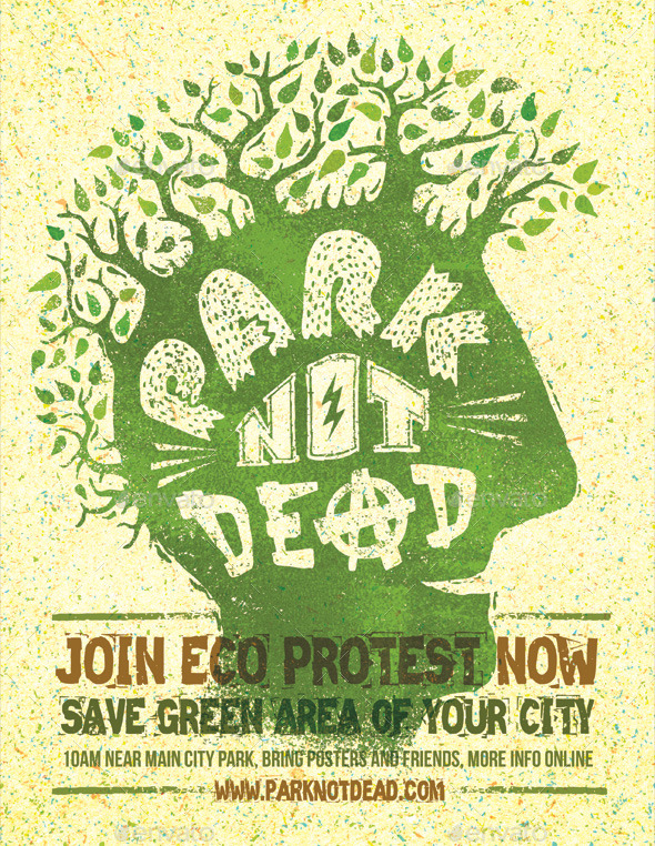 Park Not Dead Creative Eco Protest Poster - Events Flyers