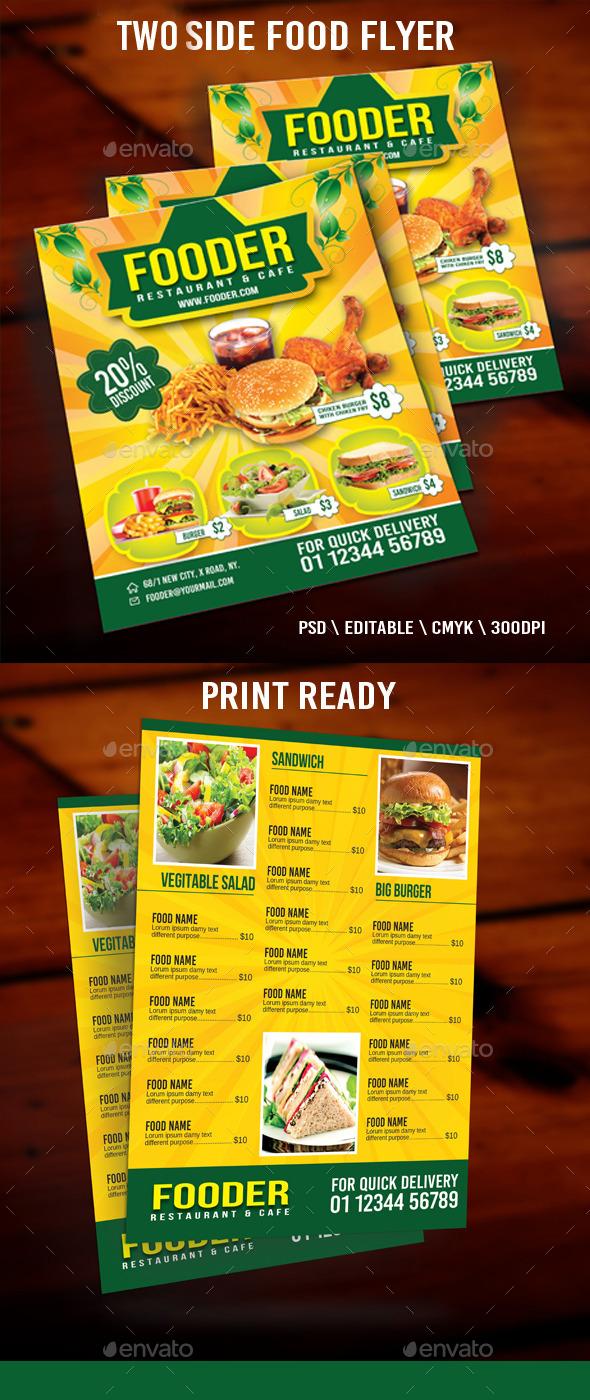 Two Side Food Flyer - Restaurant Flyers