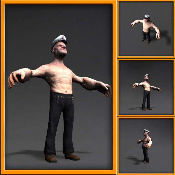 Popeye 3d cartoon character - 3DOcean Item for Sale