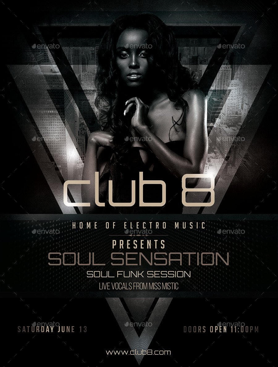 Beautiful Club 8 Soul Funk Sensation Flyer Template