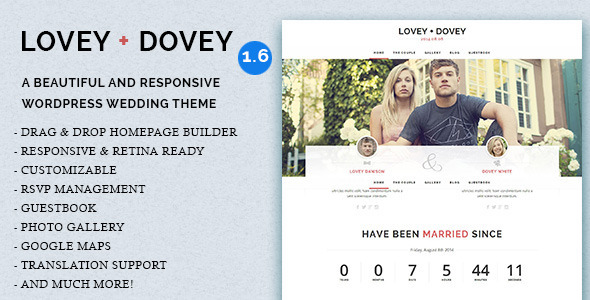 Lovey Dovey – Responsive WordPress Wedding Theme