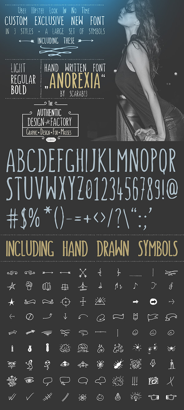 "Handwritten Font ""ANOREXIA""  - Handwriting Fonts"