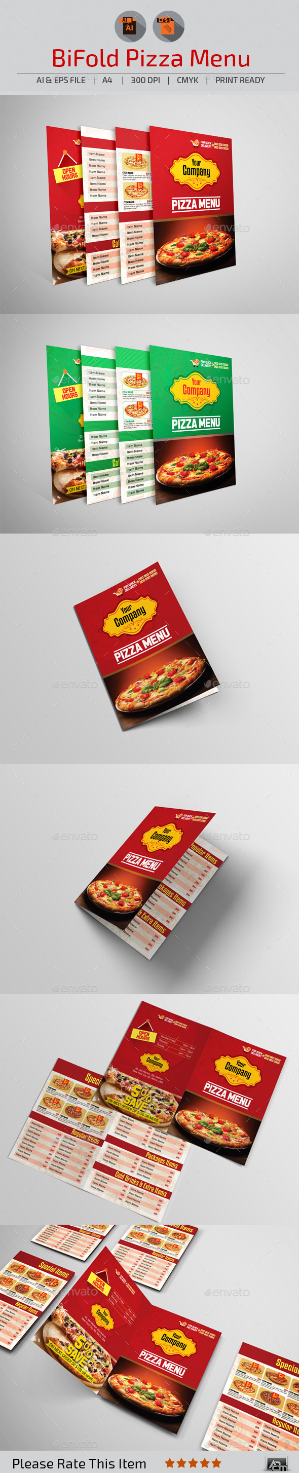 Bi-Fold Pizza Menu