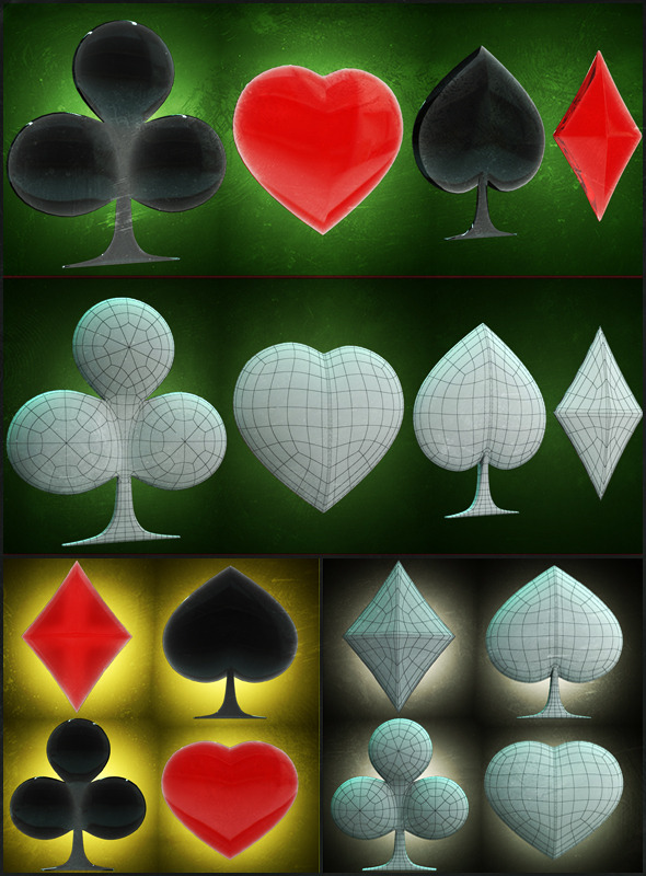Signs of Cards 3D models - 3DOcean Item for Sale