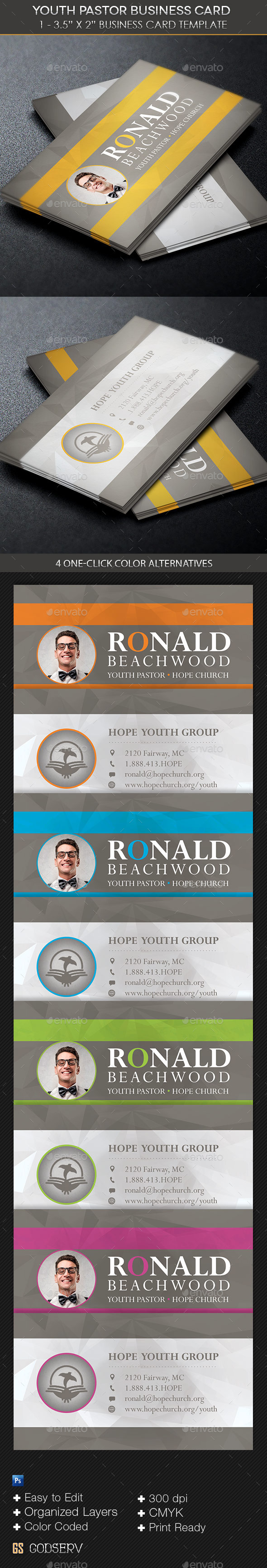 Youth Pastor Business Card Template by Godserv | GraphicRiver