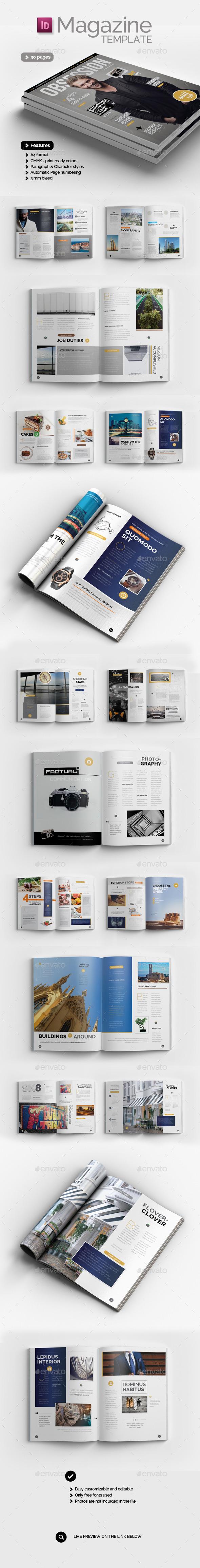 Obsession Magazine Template - Magazines Print Templates
