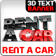 Rent A Car 3D Text - GraphicRiver Item for Sale