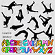 Break Dancer Silhouettes and Graffiti Alphabet
