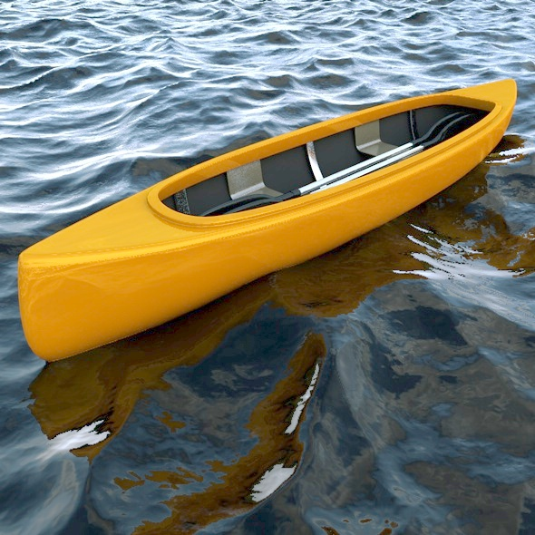 Canoe Boat and 2 Types of Oars - 3DOcean Item for Sale