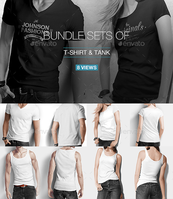 T-shirt / Tank Shirt Bundle Mock Up