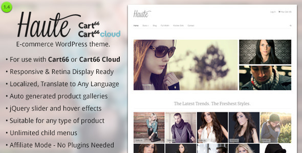 Haute - Ecommerce WordPress Theme for Cart66 - Cart66 eCommerce
