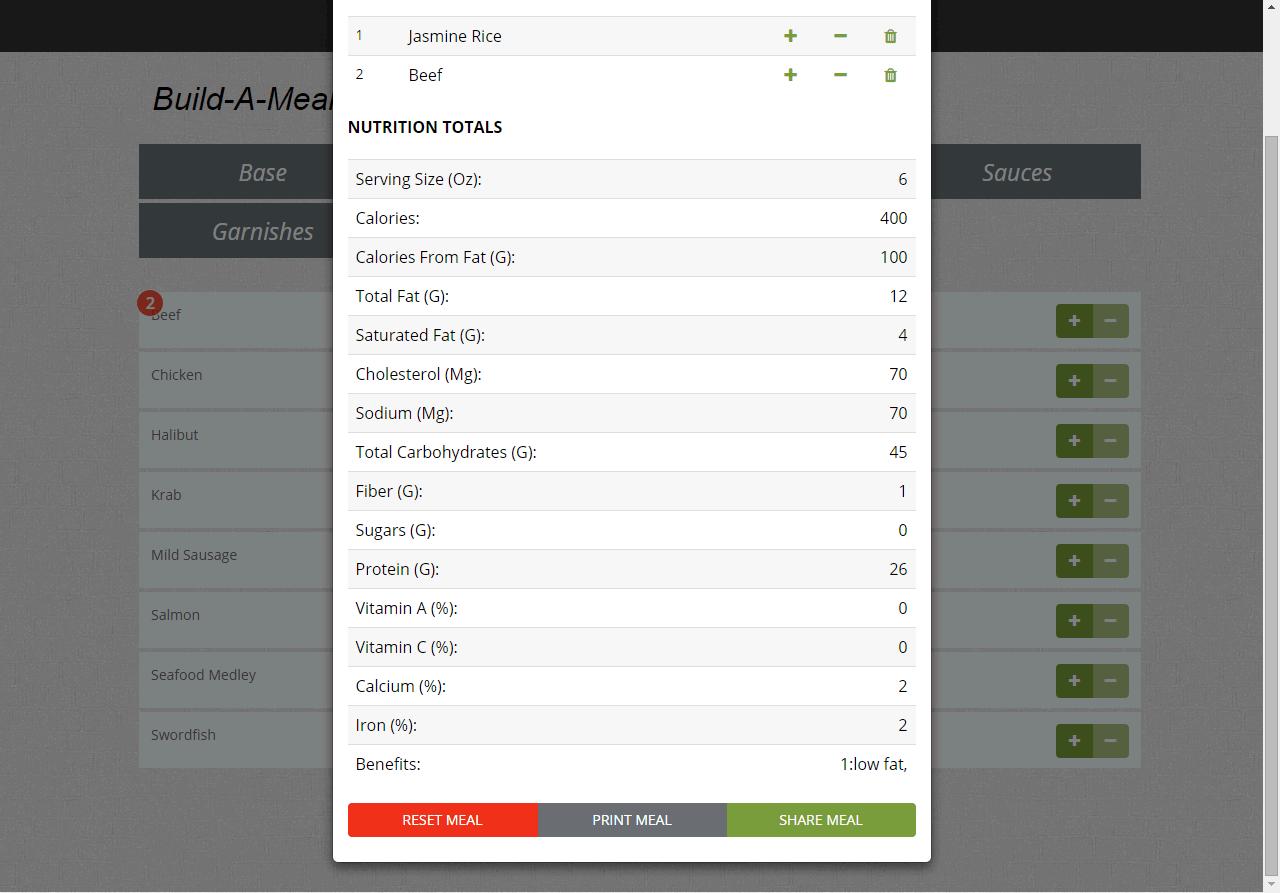 jQuery Build A Meal - Nutrition Calculator Plugin
