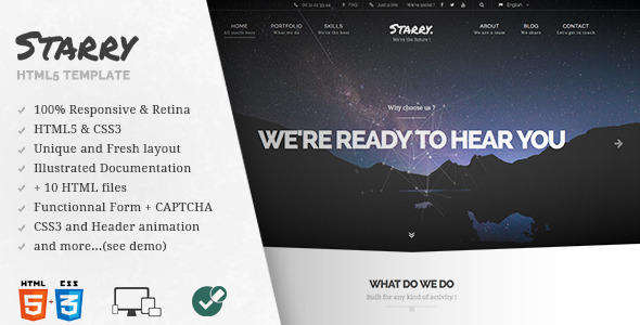 Starry – Creative & Easy Responsive HTML5 Template