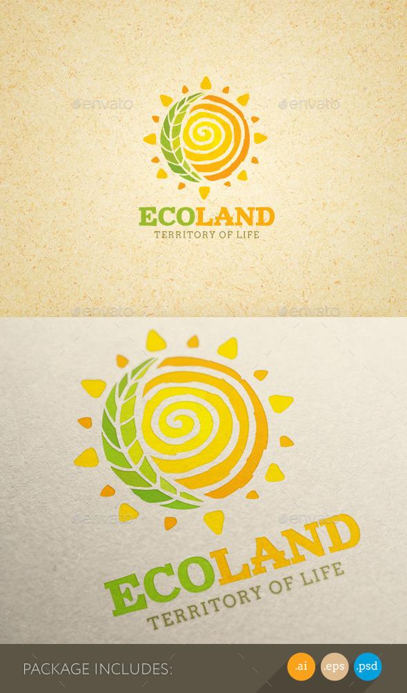 Eco Land Organic Farm Creative Logo Concept - Nature Logo Templates