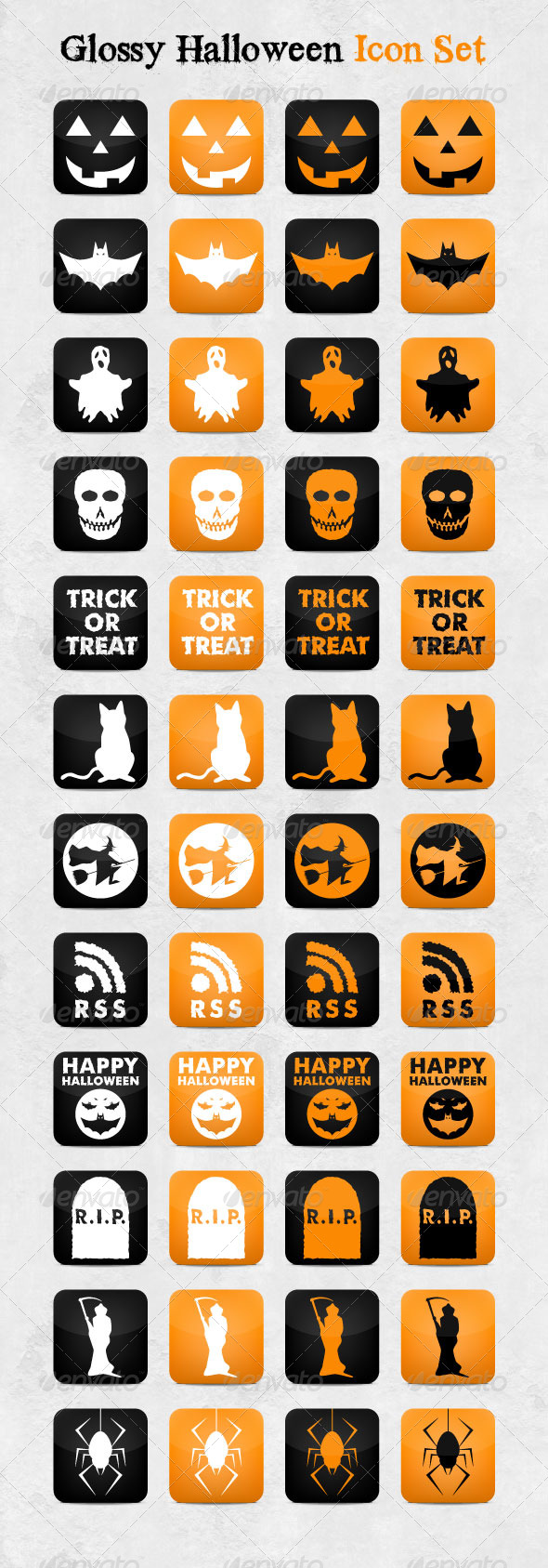 Glossy Halloween Icon Set - Seasonal Icons