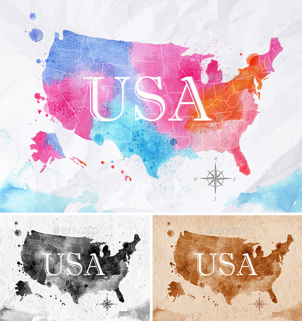 Watercolor Map USA By Annaf GraphicRiver - Usa map graphic
