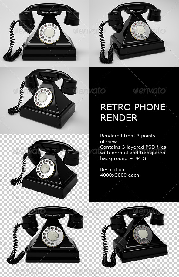 Retro Phone Render - Objects 3D Renders
