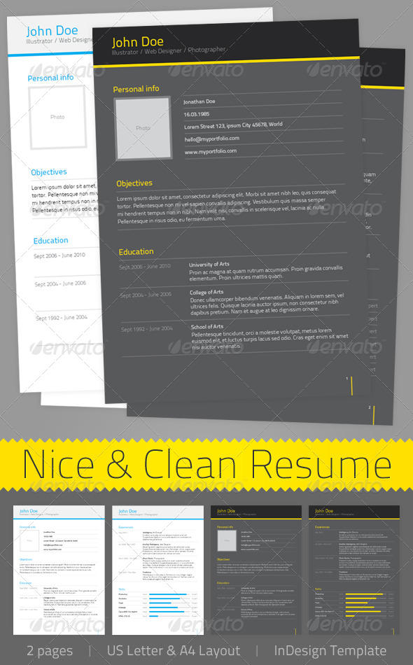 Nice & Clean Resume - Resumes Stationery