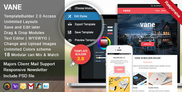 Vane Responsive Email + Template Builder Access - Newsletters Email Templates