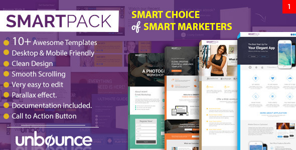 Smart Pack – Unbounce Multipurpose Creative Landing Page Pack