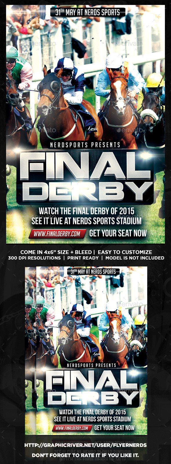 final derby horse racing championships flyer sports events